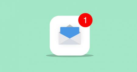 Uma notificação de novo email não lido.
