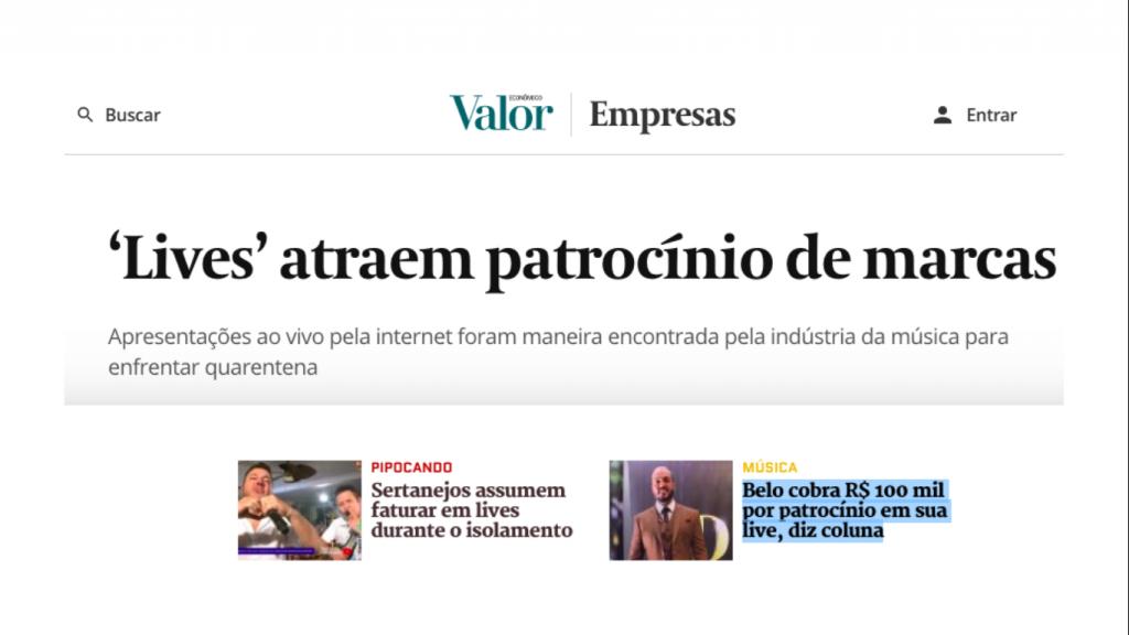 Matérias jornalísticas sobre lives, incluindo o cachê de R$ 100 mil do Belo para lives.
