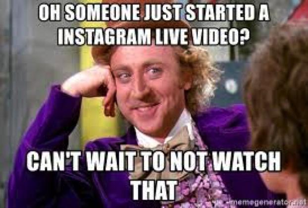 """Meme sobre lives no Instagram. """"Mal posso esperar para não assistir""""."""